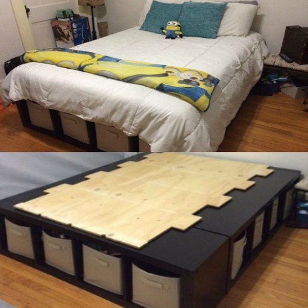 A Bed Made From Storage Shelves