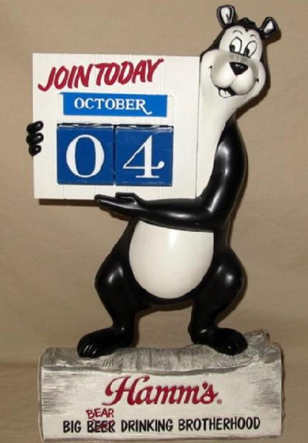 Hamm's Bear Figural Standing Calendar