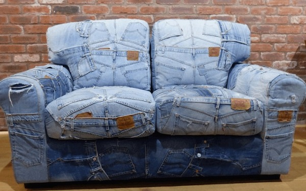 A Sofa Made From Denim Jeans