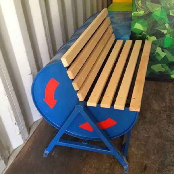 A Garden Bench Made From a Recycled Liquid Drum