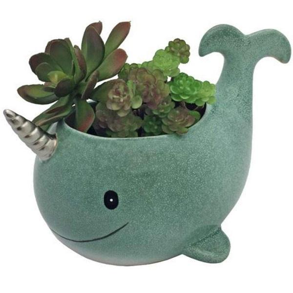 Narwhal Ceramic Planter Pot