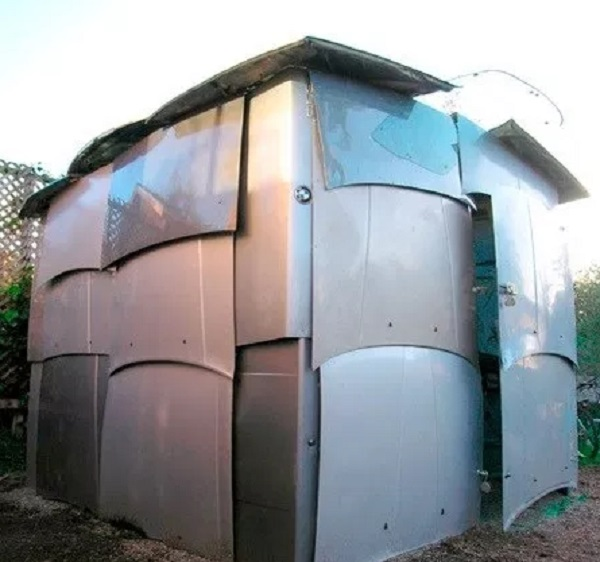 A Garden Shed Made From Car Bonnets