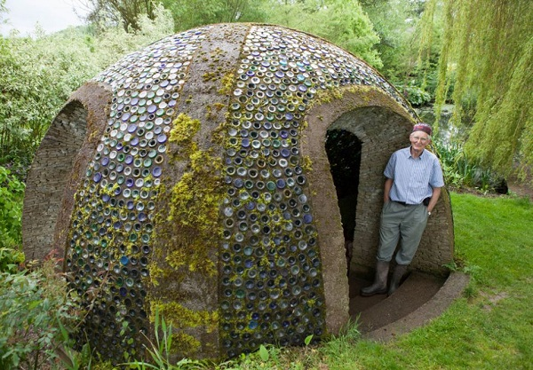 A Garden Shed Made From Wine Bottles