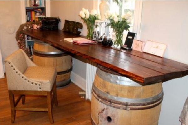 An Office Desk Made From Wine Barrels