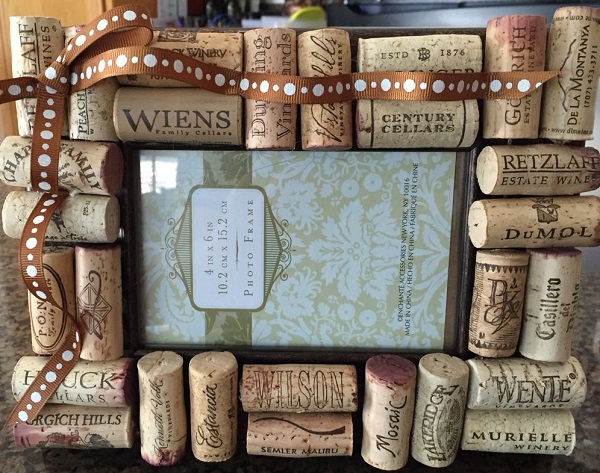 A Picture Frame Made From a Recycled Wine Corks