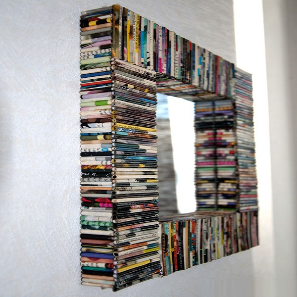 A Picture Frame Made From Recycled Magazines