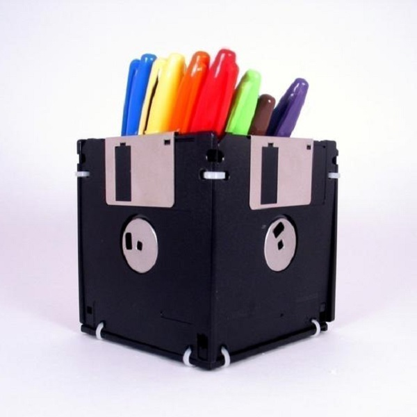 A Stationery Holder Made From Floppy Disks