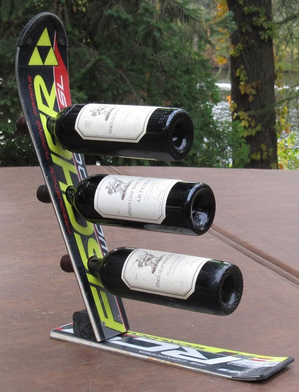 A Wine Rack Made From a Snow Ski