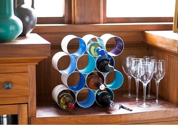 A Wine Rack Made From Tin Cans