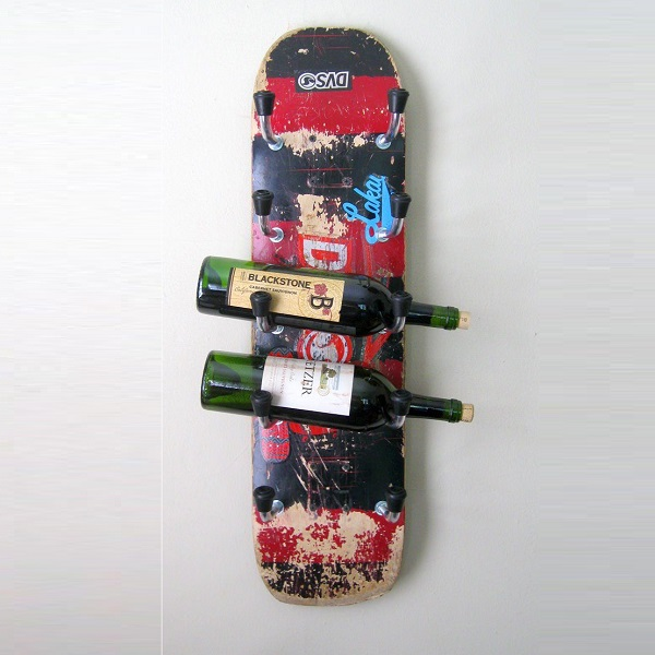 A Wine Rack Made From a Skateboard