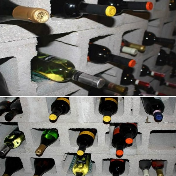 A Wine Rack Made From Cinder Blocks