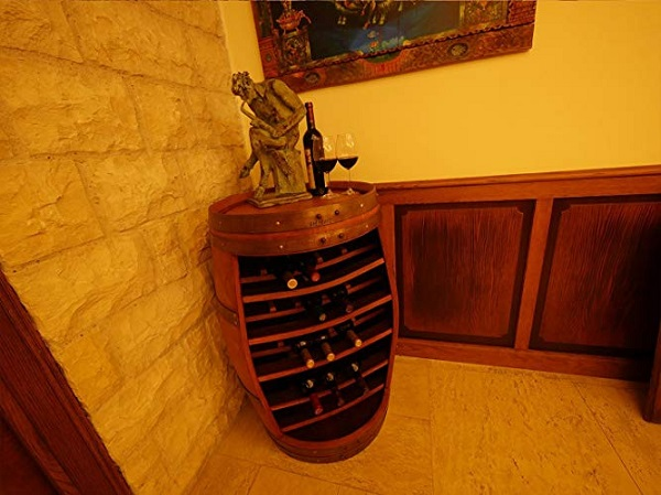 A Wine Rack Made From a Wooden Wine Barrel
