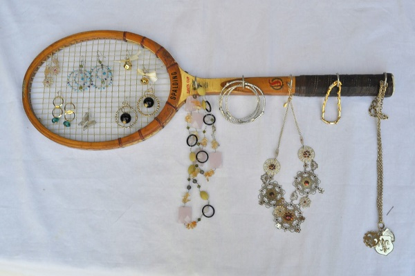 An Earring Holder Made From a Tennis Racket