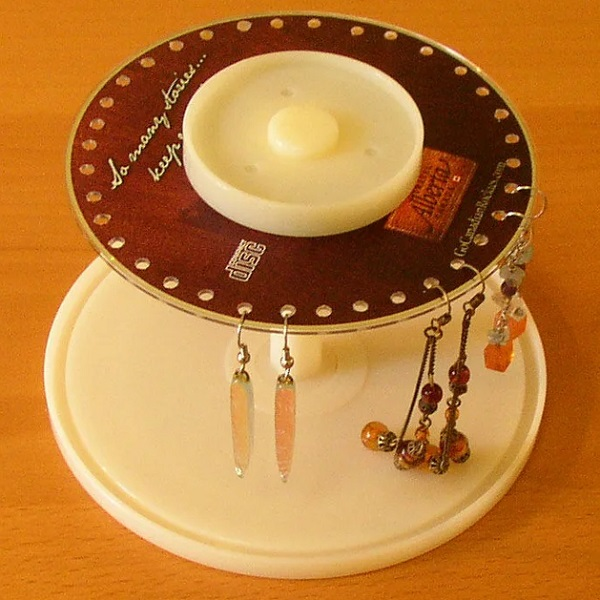 An Earring Holder Made From a CD Spindle