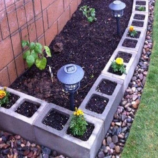 A Garden Border Made From Breeze Blocks