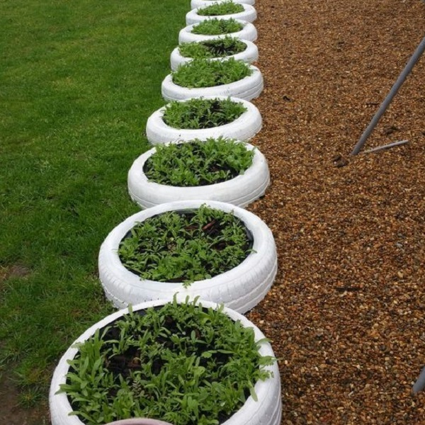 A Garden Border Made From Tyres