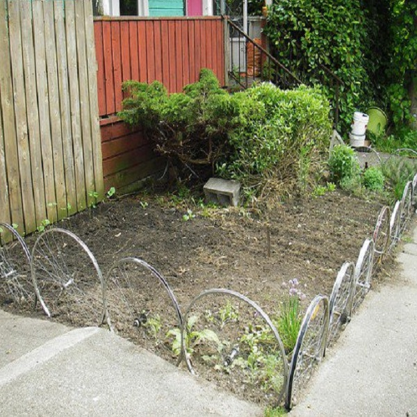 A Garden Border Made From Bicycle Wheels