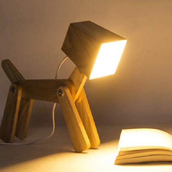 Wooden Dog Bedside Posable Lamp