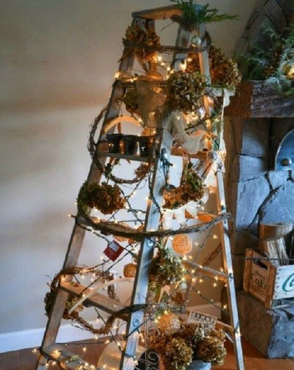 Metal Ladder Turned into a Festive Display