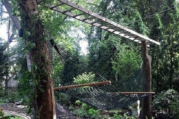 Metal Ladder Turned into a Hammock Trellis