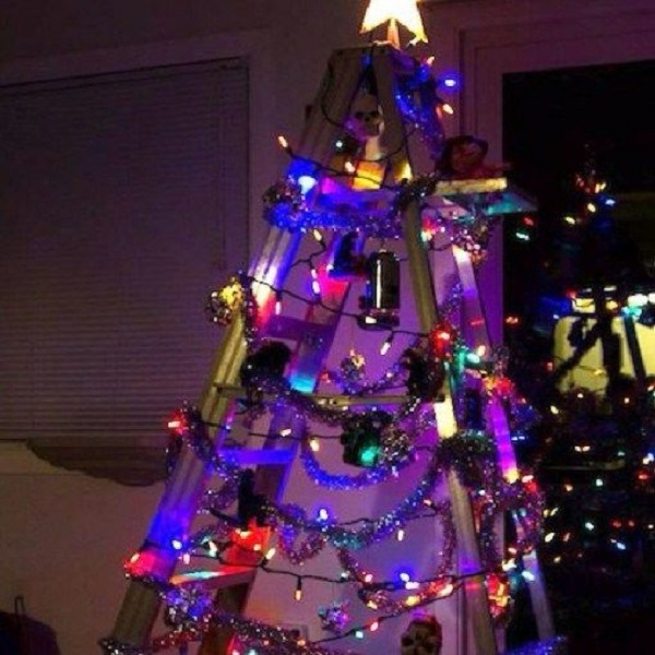 Metal Ladder Turned into a Christmas Tree