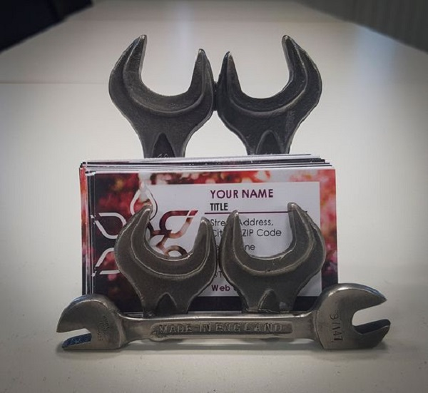 Spanner Turned Into A Business Card Holder