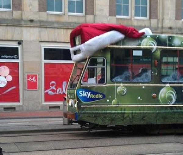 Festive Tram With Santa Hat on