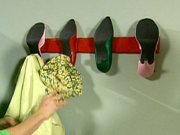 Coat Hanger Made With Old Shoes and Trainers