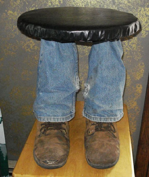 Foot Stool Made With Old Shoes and Trainers