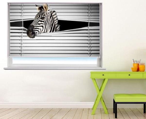 Peeking Zebra Roller Blind