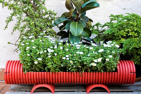 Large Garden Planter Made From Plastic Piping