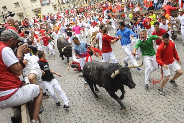 Pamplona, Spain, Running of the Bulls fiesta