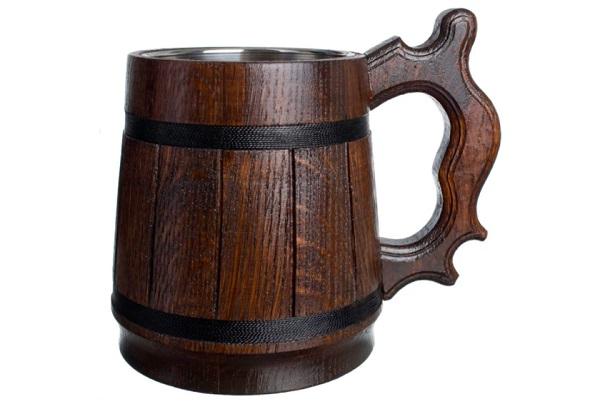 9. Oak Wooden Beer Mug