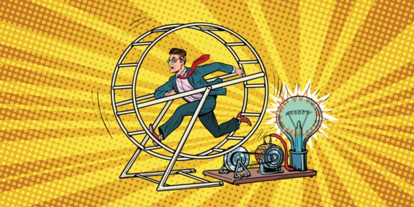 image of a man in a hamster wheel