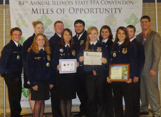 Pictured at the 84th Annual State FFA Convention are, from left, Austin Goines, McKenzie Mattox, Megan Walker,  Andrew Rockwell, Victoria Pearl, Nathan Gurley, Rebecca Sandfort, Emily VanAusdoll, Carley Childress, Jordan Gearing and advisor Jason West.