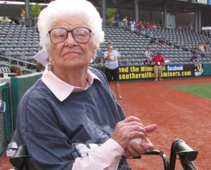 At the age of 102, Ann Peckinpaugh threw the first pitch at a 2010 Southern Illinois Miner's baseball game featuring Johnson County residents.
