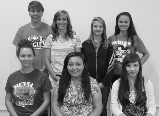 VHS Class of 2017 Officers Front row (left to right): president Hannah Loyd, vice president Emily Pope and secretary/treasurer Sydney Charles.  Back row: student council members: Max Allbritten, Adirenne Bullock, Lakin Reed and Journey Womack.