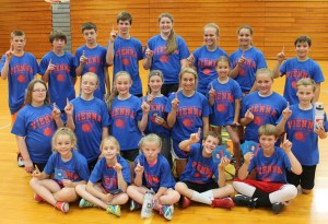 Event winners during the 2015 VHS Basketball Camp included, front row from left, Gracie Wiggs, Kennedy Bishop, Kalyn Fritch, Landon Webb and Owen Treat. Middle row: Mackenzie Glass, CJ Burnett, Avie Jones, Emme Treat, Haleigh Keeling, Brianna White, Chloe Clay and Cater Bishop. Back row: Josh Cherry, Mathew Naese, Kenan Rix,  Justin Casey, Katelyn Wiggs, Skylar Johnson, Emma Rush and Weston Henderson.