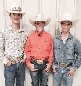 Johnson County, Illinois, cowboys (from left) Tucker Francis, Kodee Ross and Tyler Brinkley will be competing in the National High School Rodeo Finals in July.