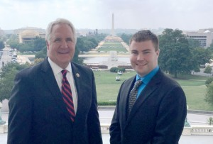 Congressman Shimkus and Nathan Carrington on the Speaker's Balcony of the U.S. Capitol.