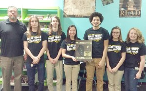 Vienna High School's Scholastic Bowl Regional Championship team includes, from left, sponsor Mr. John Giffin, Blaise Davis, Ricky Hartig, captain Miranda Brookshier, Ryan Bradley, Shawna Oliver and Sara Childress.