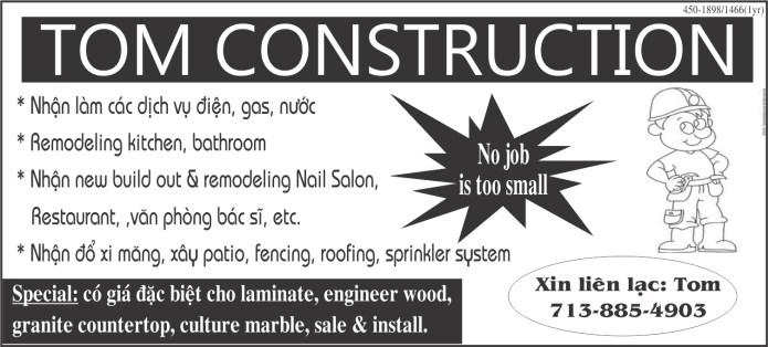 TOM CONSTRUCTION (713) 885-4903
