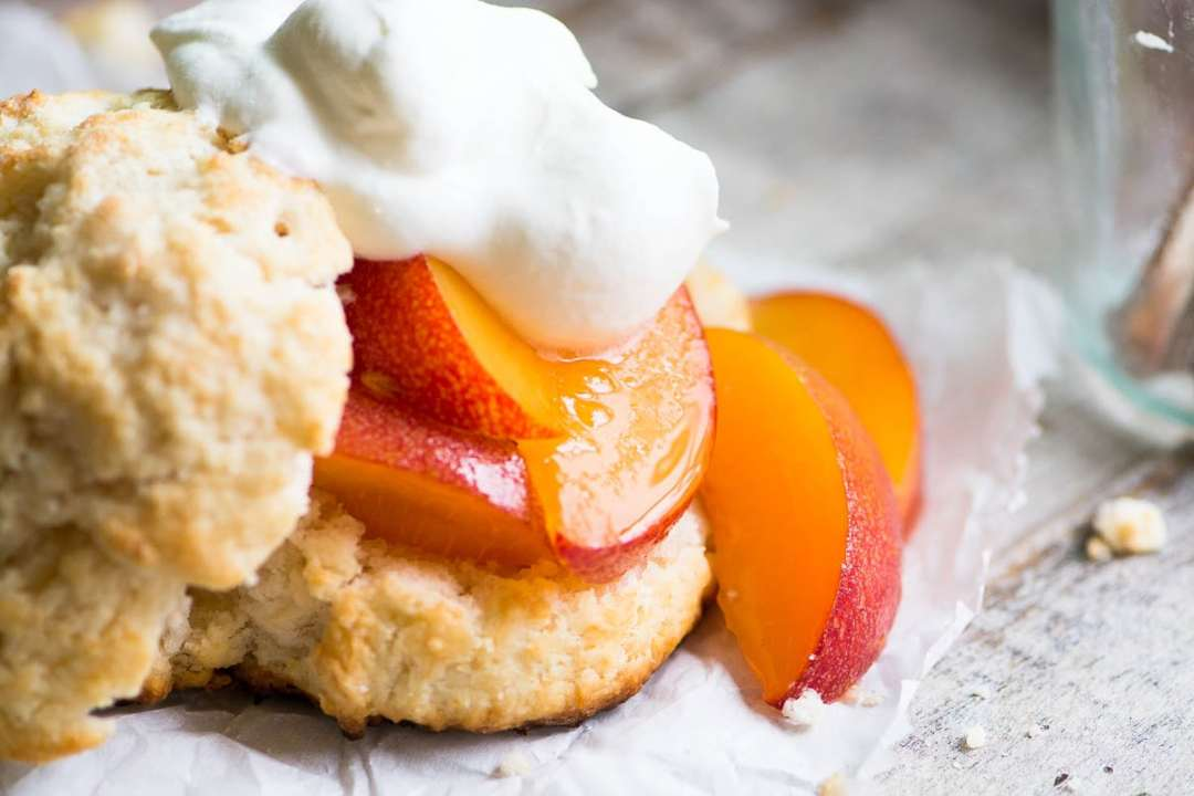 Fresh peach shortcake with whipped cream