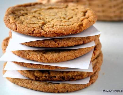 a stack of chewy ginger cookies