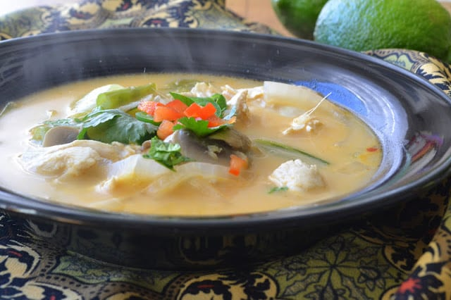 A bowl of steaming hot Thai Coconut Soup