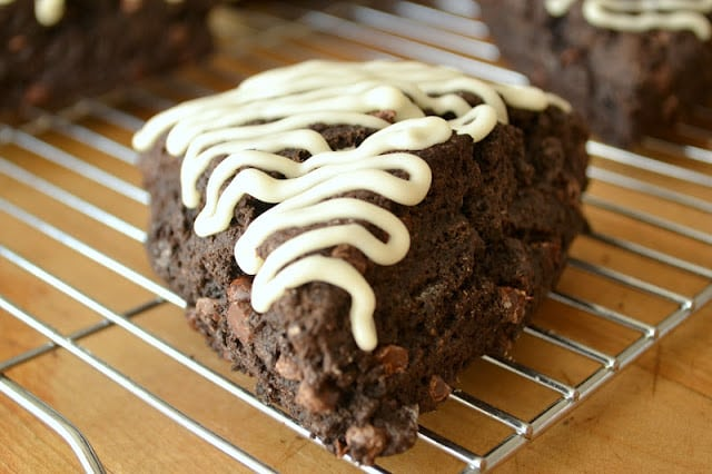 chocolate espresso scone cooling on a rack
