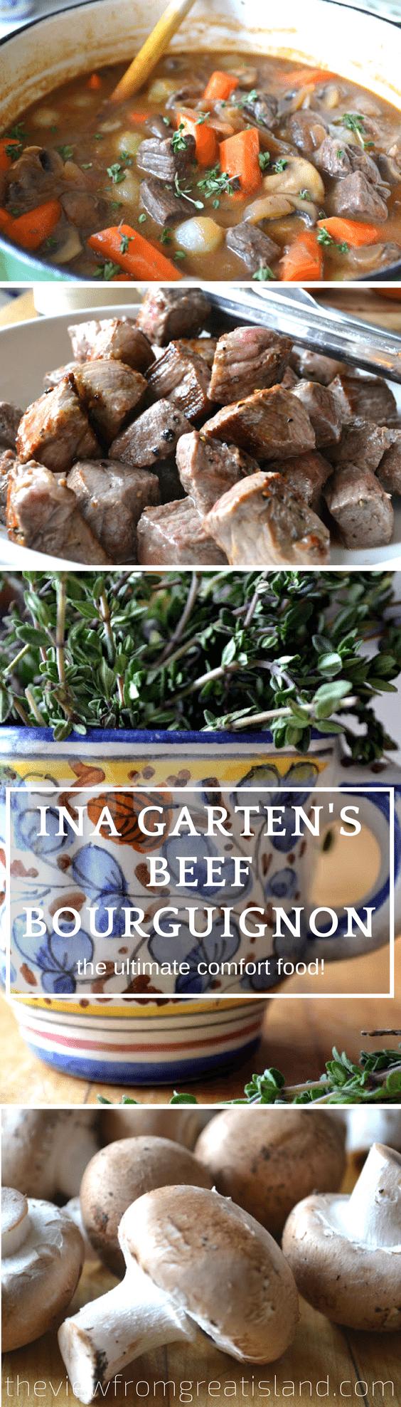 Ina Garten's Beef Bourguignon ~ the ultimate homey dish from the Queen of comfort food herself! This easy beef stew will quickly become a family favorite. #stew #inagarten #dinner #easybeefbourguignon #beef #certifiedangusbeef #comfortfood #frenchrecipe #bestbeefbourguignon