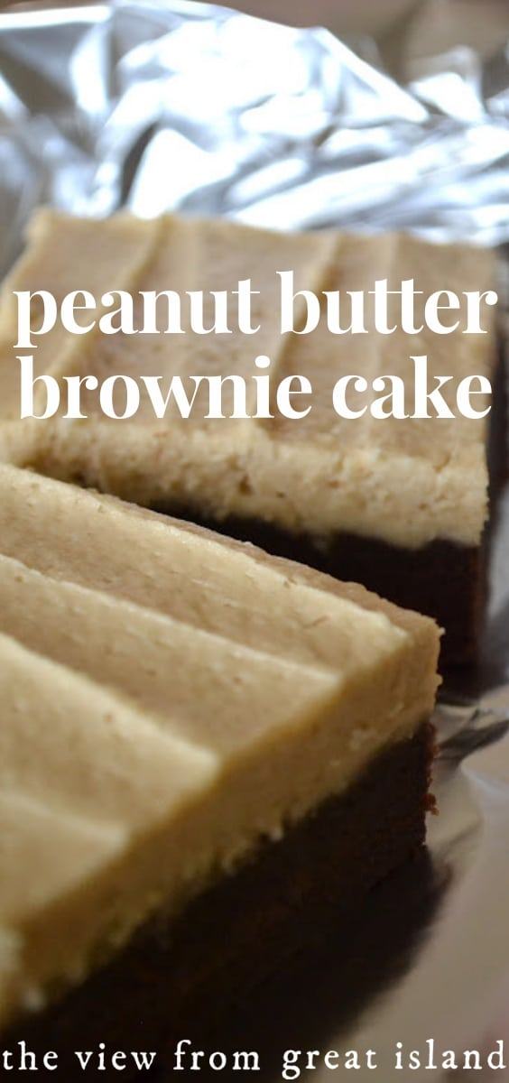 Peanut Butter Brownie Cake ~ this little dessert is a cross between a brownie and a blondie, with a good dose of peanut butter frosting thrown in for good measure! #recipe #dessert #brownies #cake #peanutbutter #snackcake #homemade #chocolate #easy #frosted