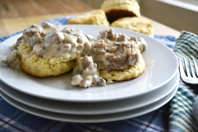 A classic country gravy on sweet potato biscuits!