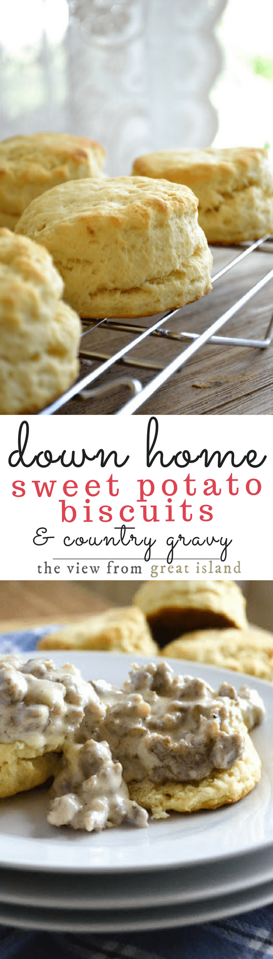 Down Home Sweet Potato Biscuits with Country Gravy ~ these tender biscuits are made impossibly light and fluffy with sweet potato, and they make the perfect base for a classic Southern country gravy! #biscuits #bestbiscuits #breakfast #countrygravy #bread #fall